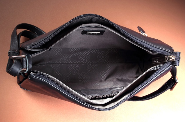Inside front bag, wide and with interior pockets