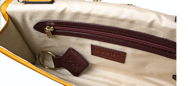 Interior bag where you can see the fine finishes