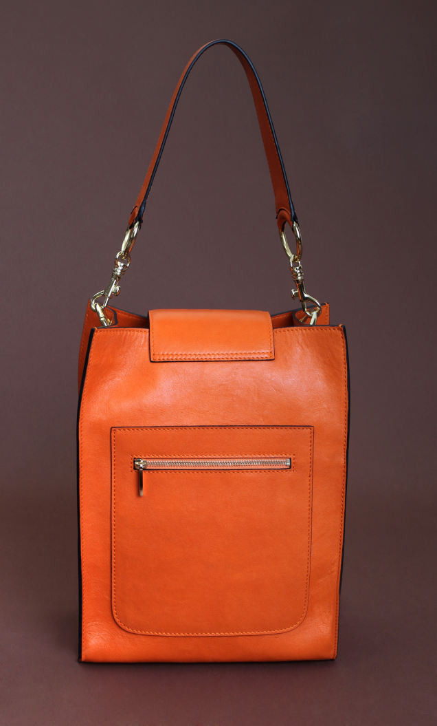 Original orange nappa rectangular bag