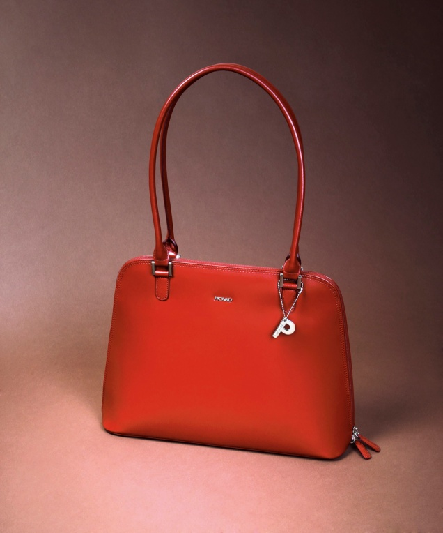 Picard red smooth leather bag with great interior capacity
