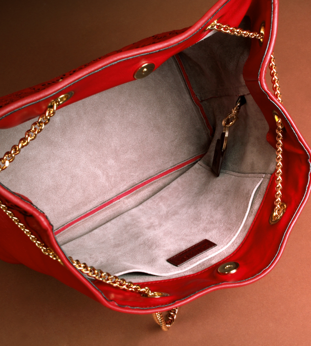 Red nappa leather bag and gold chain. Barada brand3